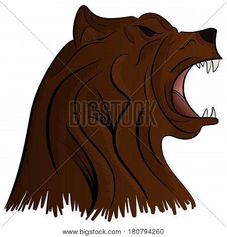 Angry Bear Head Mascot Vector Illustration isolated on white background
