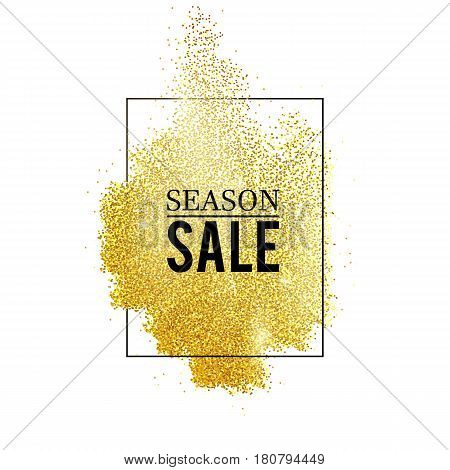 Abstract vector stippling gold frame Gold shining background. Glitter template sele