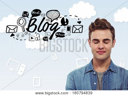 Digital composite of Man with eyes closed and Blog text with drawings graphics