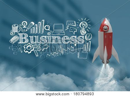 Digital composite of 3D Rocket flying over buildings and Business text with drawings graphics