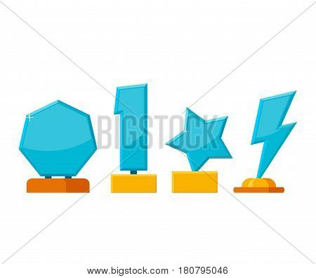 Set trophy winner award collection isolated on white background. Glass awards in flat style. Prizes and rewards made of glass and gold vector illustration.
