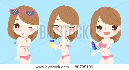 cute cartoon woman with sunscreen on blue background