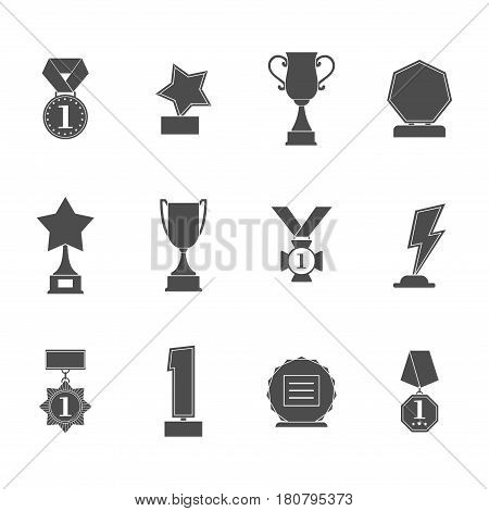 Set trophy winner award icon collection isolated on white background. Prizes and rewards silhouettes vector illustration.