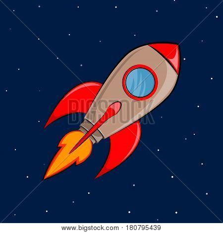 Space rocket ship flying. Flat vector illustration