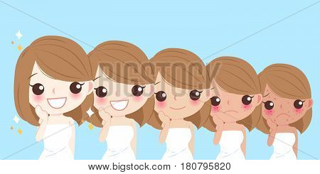 cartoon beauty woman with face whitening on blue background