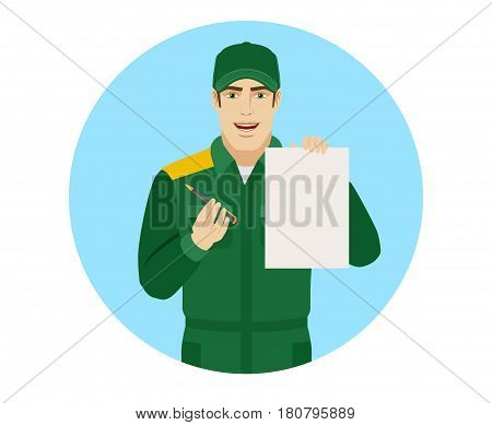 Worker giving pen for your signature on paper. Portrait of Delivery man or Worker in a flat style. Vector illustration.