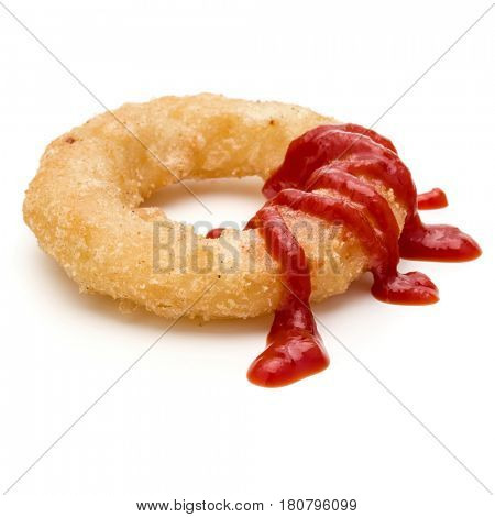 Crispy deep fried onion or Calamari ring with ketchup isolated on white background
