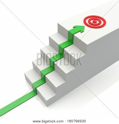 Business Graph With Rising Arrow To Target And Ladder On White