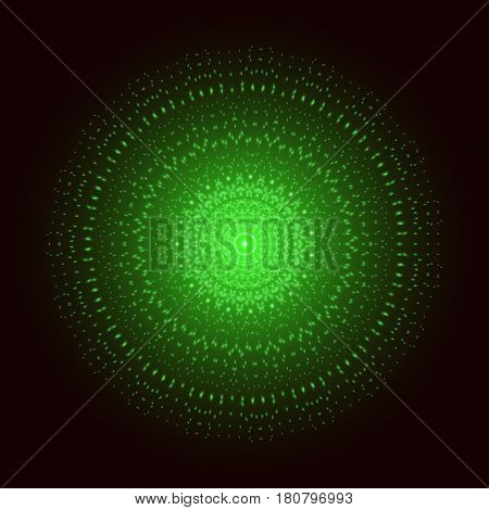 Green light mandala. Abstract vector sacred ornament
