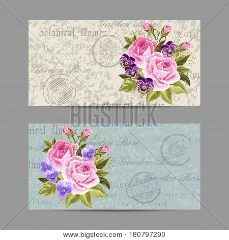 Set of horizontal banners. Beautiful compositions with pink roses and pansies. Vintage postcard background. Vector illustration.