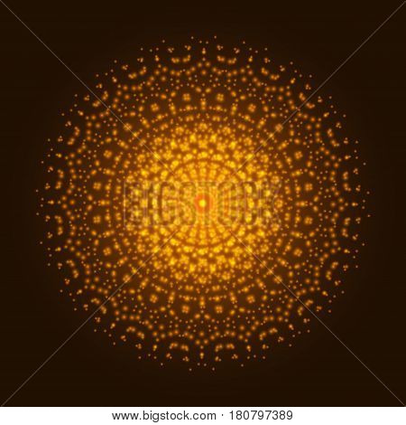 Orange light mandala. Abstract vector flower ornament