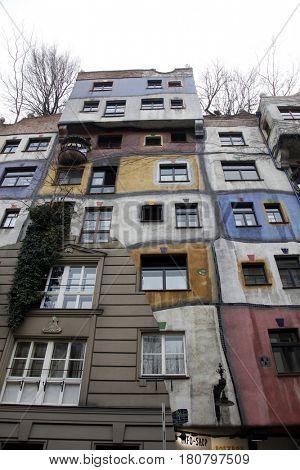 VIENNA, AUSTRIA - DECEMBER 09: Hundertwasser House, Vienna, Austria on December 09, 2011.