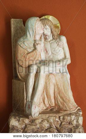 ZAGREB, CROATIA - MARCH 31: Our Lady of Sorrows, Chapel of Saint Dismas in Zagreb, Croatia on March 31, 2015