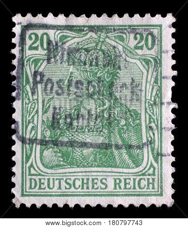 ZAGREB, CROATIA - JUNE 22: A stamp printed in Germany shows Germania (Allegory, Personification of Germany), without inscription, series Germanania, circa 1900, on June 22, 2014.
