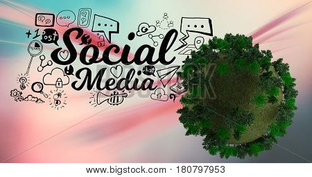Digital composite of Digital composite image of social media icons by tree globe
