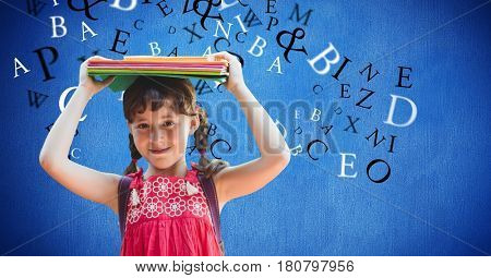 Digital composite of Digital composite image of girl carrying books on head with letters flying in background