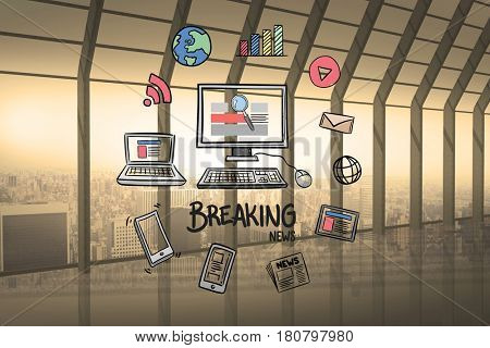 Digital composite of Digital composite of computer and breaking news surrounded with various icons