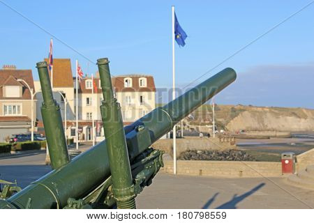 Anti-aircraft gun in Arromanches in Normandy, France