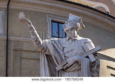 ROME, ITALY - SEPTEMBER 03: Statue of Saint Charles Borromeo by Attilio Selva, Basilica dei Santi Ambrogio e Carlo al Corso, Rome, Italy on September 03, 2016.