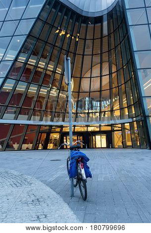 CRACOW POLAND - FEBRUARY 27 2016: ICE Krakow Congress Center Kraków Poland. Architect: Ingarden & Ewy Ararta Isozaki