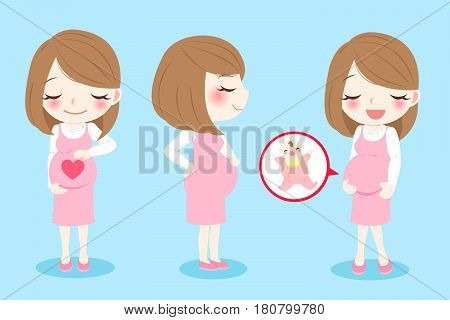 cute cartoon pregnant woman with baby on blue background