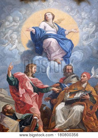 ROME, ITALY - SEPTEMBER 03, 2016: The glorification of the Virgin with St. John the Evangelist, Augustine, John Chrysostom and Gregory the Great, Basilica dei Santi Ambrogio e Carlo al Corso, Rome