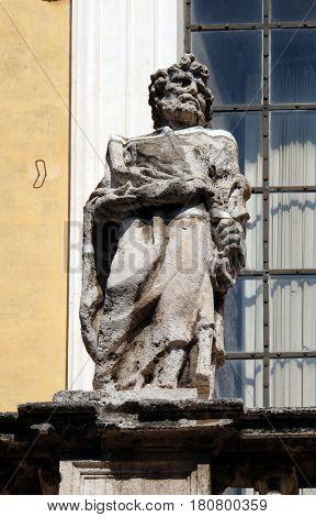 ROME, ITALY - SEPTEMBER 03: Statue of Apostle on the church dei Santi XII Apostoli in Rome, Italy on September 03, 2016.
