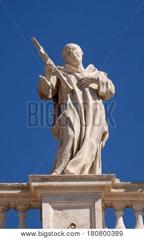 ROME, ITALY - SEPTEMBER 02:  St. Bruno, fragment of colonnade of St. Peters Basilica. Papal Basilica of St. Peter in Vatican, Rome, Italy on September 02, 2016.