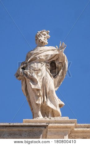 ROME, ITALY - SEPTEMBER 02:  St. Hilarion, fragment of colonnade of St. Peters Basilica. Papal Basilica of St. Peter in Vatican, Rome, Italy on September 02, 2016.