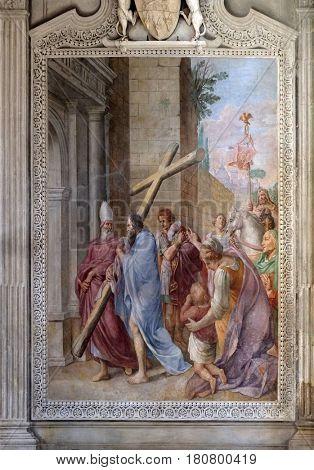 ROME, ITALY - SEPTEMBER 02: Exaltation of the Cross by Pieter van Lint fresco in Cybo-Soderini Chapel, Church of Santa Maria del Popolo, Rome, Italy on September 02, 2016.