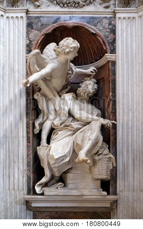 ROME, ITALY - SEPTEMBER 02: Habakkuk and the Angel marble statue by Lorenzo Bernini in The Chigi chapel in Church of Santa Maria del Popolo, Rome, Italy on September 02, 2016.