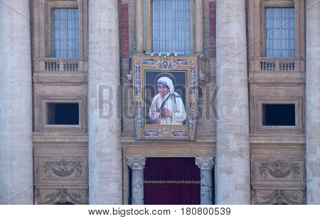 ROME, ITALY - SEPTEMBER 02: St. Peters Basilica in Vatican City arranged for the canonization of Mother Teresa in Rome, Italy on September 02, 2016.