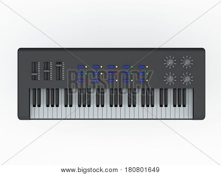 Synthesizer. Isolated on white background. 3D rendering illustration. Top view.