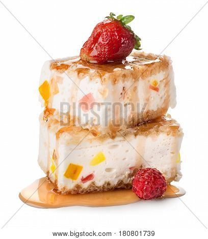 Cakes with souffle and marmelade isolated on white