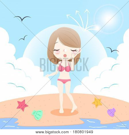 cute cartoon woman with sunscreen on the beach