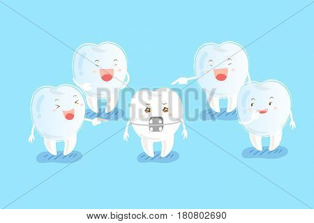 cute cartoon tooth wear invisible braces are laugh