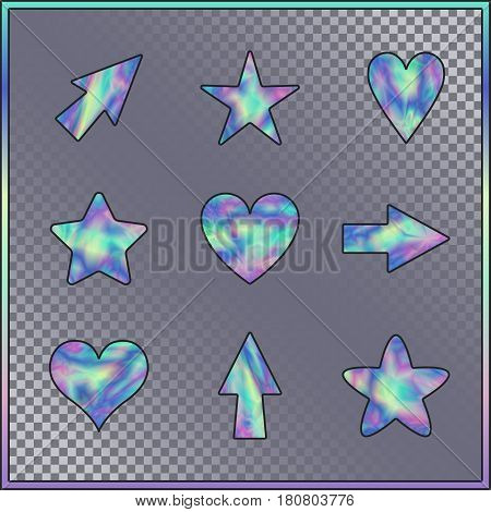 Set of Stars Hearts Arrows with Holographic Effect. Kit of Isolated Signs for Site Web Website App Program on on Transparent Background.