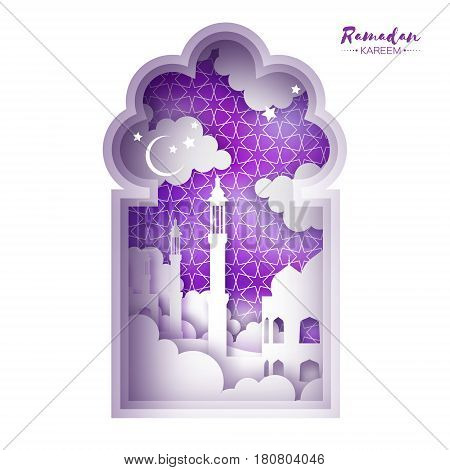 Purple Ramadan Kareem Greeting card. Origami Mosque Window. Paper cut cloud. Holy month of muslim. Symbol of Islam. Crescent Moon. Islamic festival celebration vector