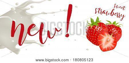 Yogurt strawberry concept. Realistic strawberry vector illustration with milk splash