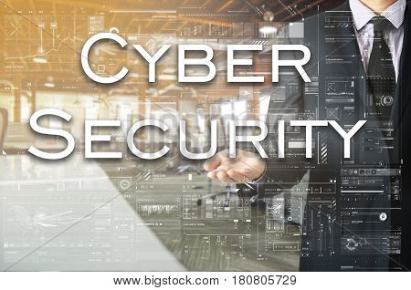 Businessman showing text by his hand: Cyber Security
