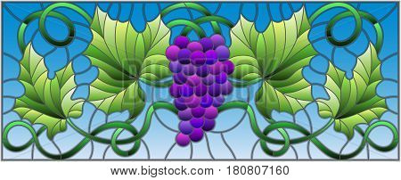 The illustration in stained glass style painting with a bunch of red grapes and leaves on sky backgroundhorizontal orientation