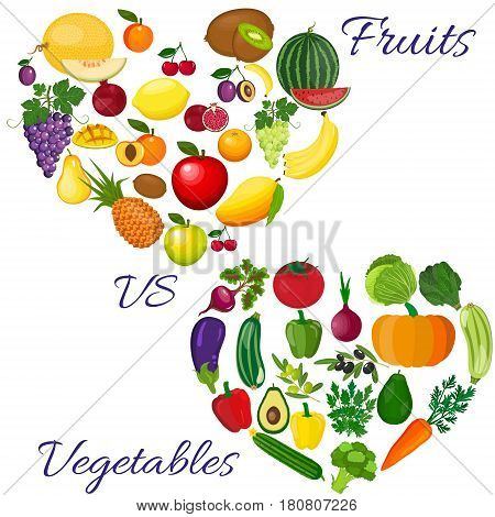 Fresh organic food. Set of vegetarian food . Vector vegetarian organic healthy food cuisine. organic natural realistic vegetable. Veggie Lover Elements