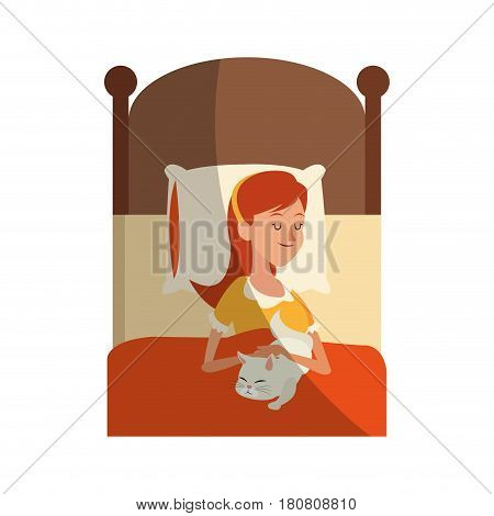 woman slepping at the bed with her cat, cartoon icon over white background. colorful design. vector illustration