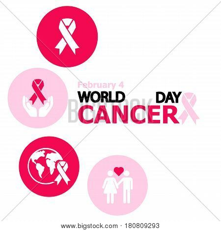 World Cancer Day. General cancer awareness symbol with space for text isolated on white background