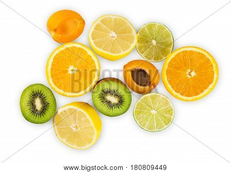 Citrus fruits half group isolated on white background. Sweet exotic tropical orange, kiwi, lemon, lime amd apricot, healthy natural organic food