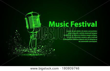 Music festival background for flyer, banner, billboard. Green neon microphone illustration on a black background. Music group cover disk template.