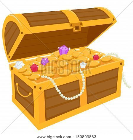 Vector illustration of a wooden chest filled with gold treasure