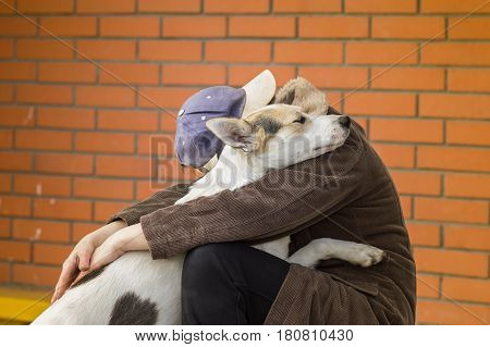 Cross-breed of hunting and northern dog hugs master showing how it loves her