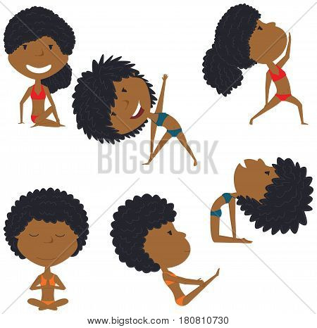 Female yoga vector collection. Pretty African-American girls doing fitness exercises. Gymnastics for kids. Beauty women in various workout poses. Sport healthy lifestyle.