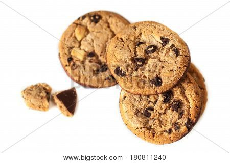 Chocolate chip cookies macro isolated on white background. Cookies with chocolate chunks.